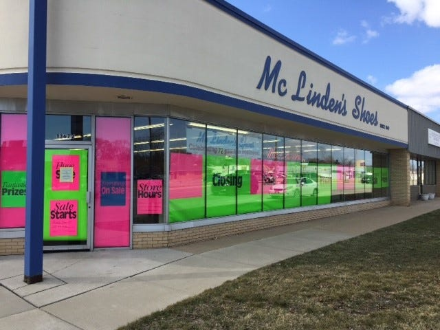 McLinden's Shoes in Southgate, seen on April 1, 2019, is going out of business, with a liquidation sale starting Thursday, April 4, 2019.
