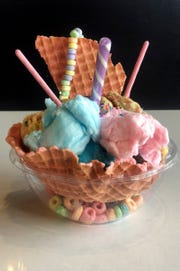This sundae -- called a Unicorn's Dream -- includes ice cream, cotton candy and cereal served in a waffle-cone bowl.