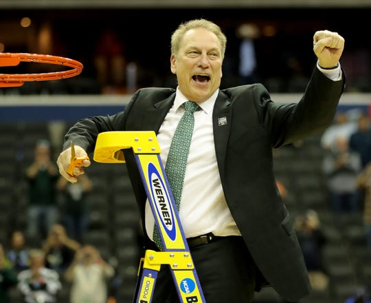 MSU coach Tom Izzo celebrates after beating Duke in the NCAA Regional Final Sunday, March 31, 2019 at Capital One Arena in Washington, DC.