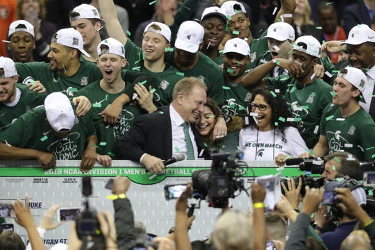 MSU celebrates after MSU's 68-67 win in the NCAA tournament East Region final on Sunday, March 31, 2019, in Washington.