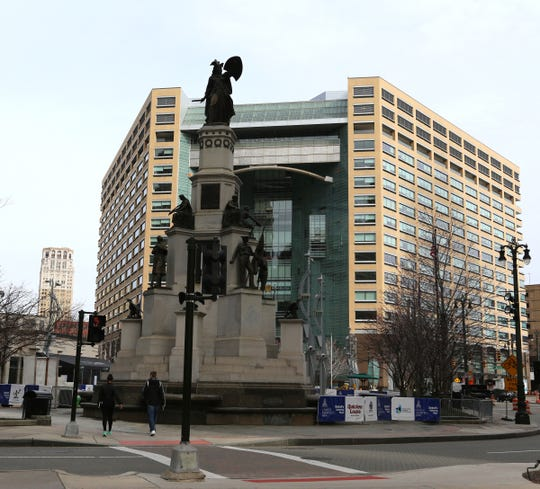 The Soldiers and Sailors monument in downtown Detroit, photographed on Wednesday, March 30, 2016.