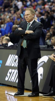 MSU head coach Tom Izzo on the bench during MSU's 68-67 win in the NCAA tournament East Region final on Sunday, March 31, 2019, in Washington.