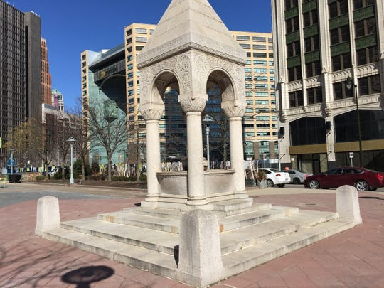 Bagley Fountain, located east of Campus Martius Park in downtown Detroit, photographed on April 1, 2019.