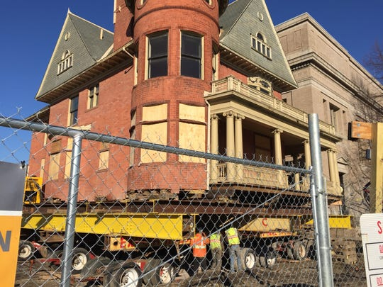 The David Mackenzie House in Detroit's Midtown district during preparations to move it to make way for expansion of the Hilberry Theatre, on April 1, 2019.