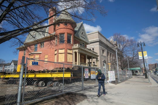 Wayne State University's historic David Mackenzie House is being prepared for a move to a new location Monday, April 1, 2019. The move of the house is to make space for the new Hillberry Gateway Performance Complex that will include the Gretchen Valade Jazz Center.