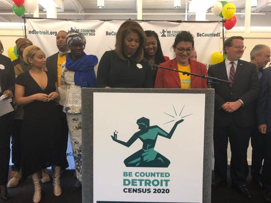 Officials gather to launch the Be Counted Detroit Census 2020 project.