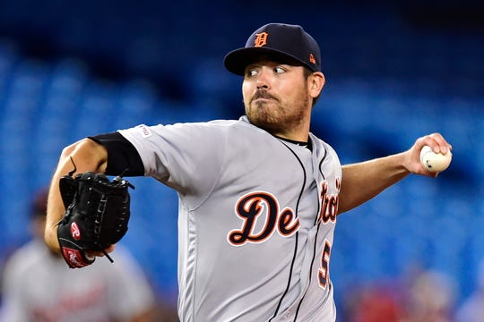 Detroit Tigers starting pitcher Matt Moore works against the Toronto Blue Jays during first inning Sunday.