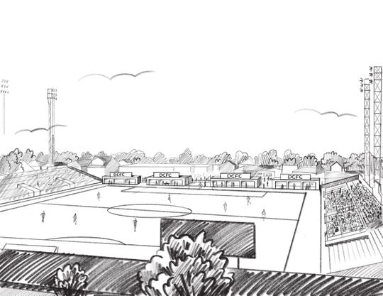 Detroit City FC unveils an artist rendering of 12 suites that will be added to Keyworth Stadium this season.