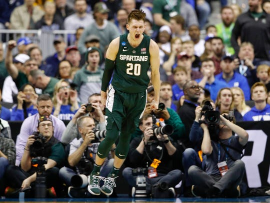 Michigan State senior guard Matt McQuaid had nine points in Sunday's East Region final victory over Duke.