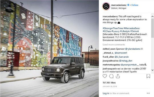 In a now-deleted Instagram post from Mercedes-Benz, an Eastern Market mural by graffiti artist James Lewis can be seen in the background.