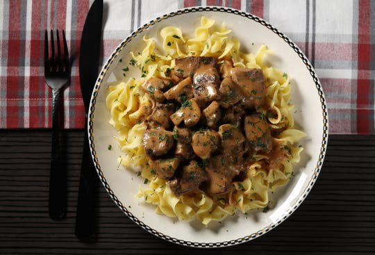 Beef stroganoff, prepared and styled by Shannon Kinsella, in the test kitchen, Wednesday Feb 6, 2019.  Abel Uribe/Chicago Tribune...OUTSIDE TRIBUNE CO.- NO MAGS, NO SALES, NO INTERNET, NO TV, CHICAGO OUT, NO DIGITAL MANIPULATION...