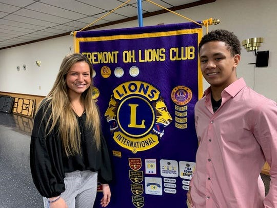 Fremont Ross students Gillian Gallagher and Keaton Jordan were recognized by the Fremont Lions.