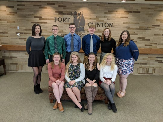 The Top Ten students in the Port Clinton High School Class of 2019.  Seated left to right: Madyson Webb, Allison Batterton, Alexis Yoh, Analisa Snyder.  Standing:  Kamlin Nisch Quan, Andrew Fillmore, Lucas Patrick, Max Brenner, Bryanna Barr, and Caitlyn Pipoly.