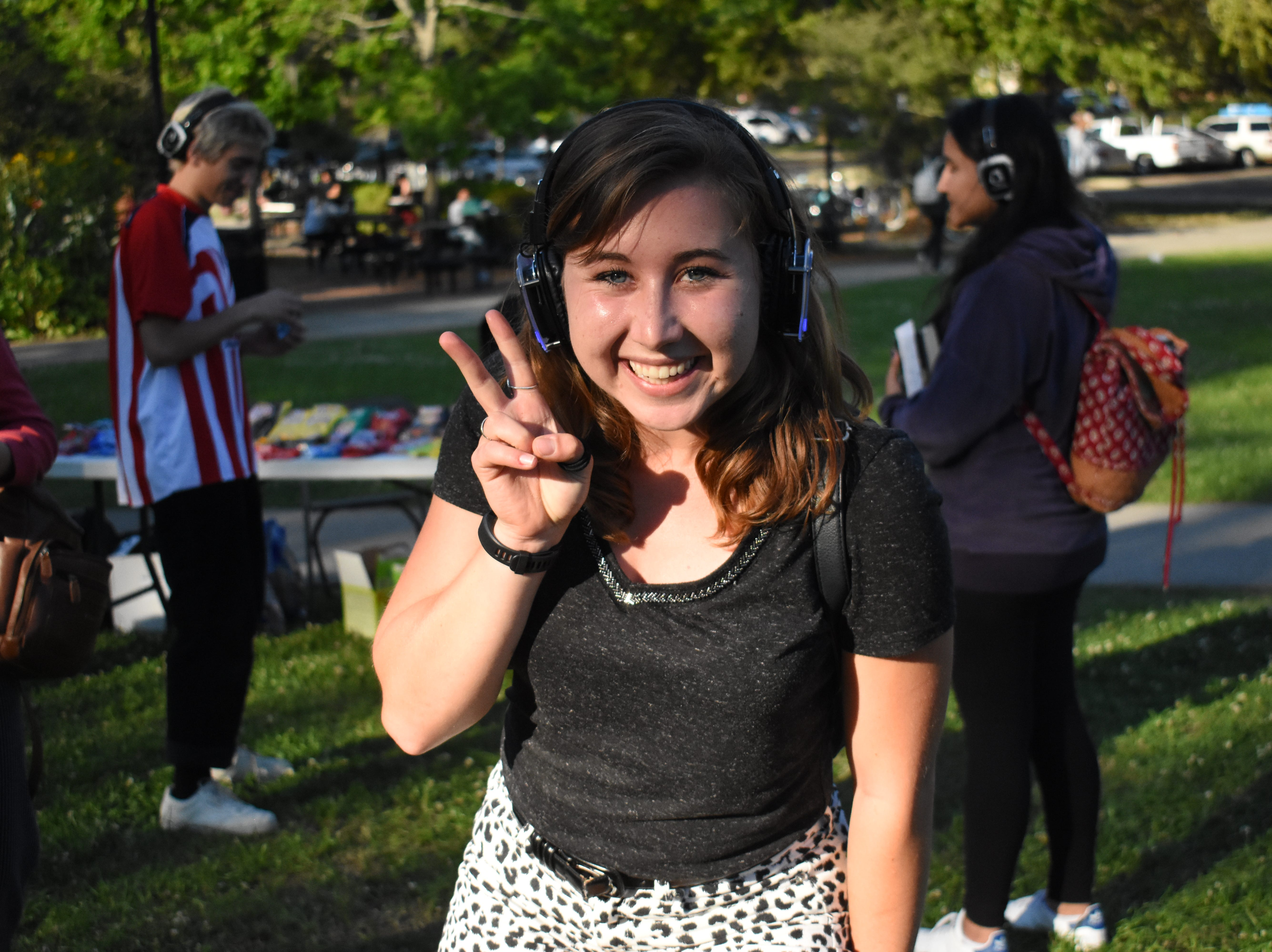Club Downunder/Union Productions hosted a silent disco last Wednesday on Landis Green, where people danced to music on wireless headphones.