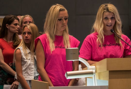 """Randi Romanoff, right, a co-founder of the non-profit organization """"Lights for Layla"""", addresses the Cape Coral city council Monday afternoon, 4/1/19, during a public meeting. The group was organized after Layla Aiken was killed by a car last Monday morning while waiting for the school bus near her home."""