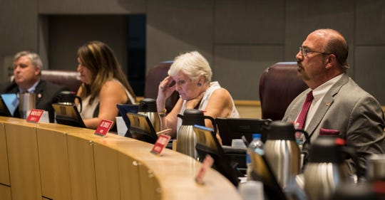 Members of the Cape Coral city council listen to public input Monday afternoon, 4/1/19.