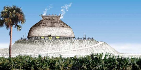 Calusa King's House On Mound Key In 1566 as envisioned by Merald Clark