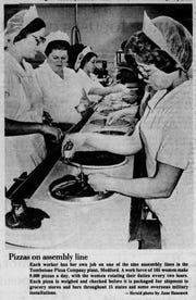 Assembly line work (photo from 1978 Wausau Daily Herald article) helped build Tombstone into a national best selling frozen pizza.
