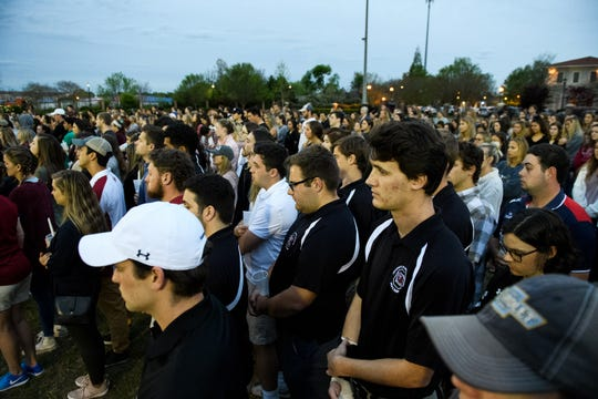 Hundreds U of SC students and loved ones of Samantha Josephson attend a candlelight vigil in honor of her life at Strom Thurmond Wellness and Fitness Center Sunday, March 31, 2019.