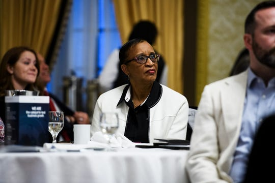 Tallahassee City Commissioner Elaine Bryant listens to a presentation during a trip of community leaders to Greenville, South Carolina, on Monday, April 1, 2019.