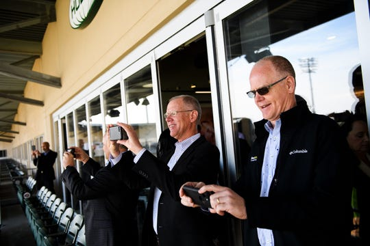 Members of the Greater Tallahassee Chamber of Commerce take photos of Fluor Field in Greenville, S.C.  Monday, April 1, 2019.