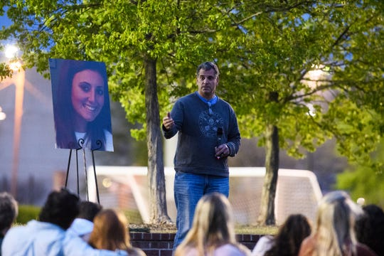 Seymour Josephson, father of Samantha Josephson, speaks about how his daughter has touched many lives during a candlelight vigil in honor of her life at Strom Thurmond Wellness and Fitness Center Sunday, March 31, 2019.