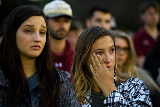 U of SC students and loved ones of Samantha Josephson attend a candlelight vigil in honor of her life at Strom Thurmond Wellness and Fitness Center Sunday, March 31, 2019.