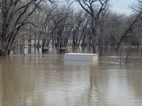 Buildings at the James Kipp Recreation Area were under water last week.