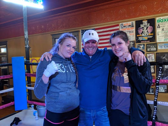 Former Great Falls star boxer Todd Foster was in Butte a few weeks ago as his niece, Brooke Tabacco (right), fought Felica Brazier of Butte (left).