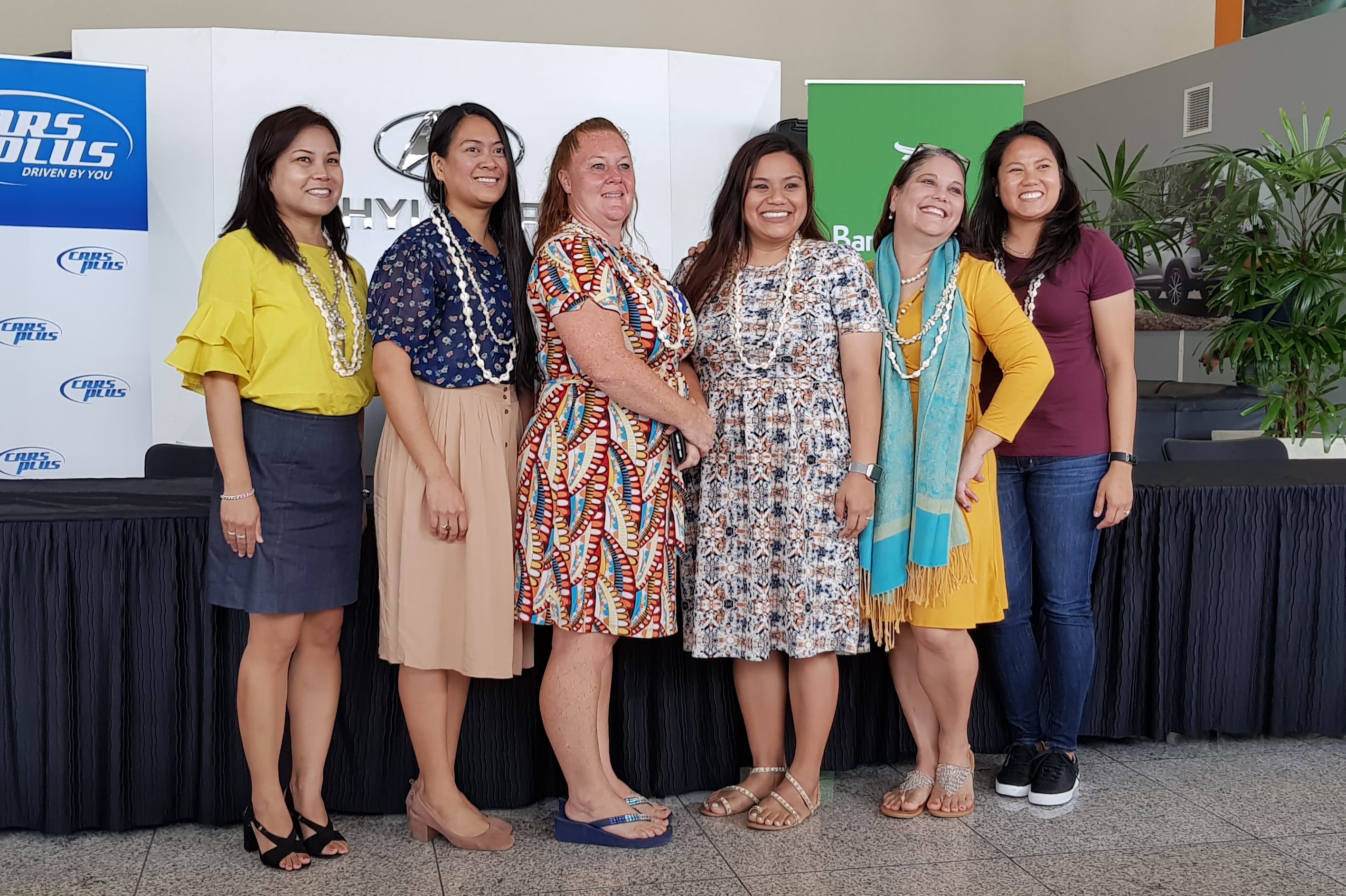 Six teachers were all smiles at Cars Plus on Monday, April 1, after being announced as the finalists for Guam's 2019 Teacher of the Year.  From left: Aileen Canos, Analyn Palugod, Jennifer Flory, Lory Danao, Clarice Lowe Mesa and Allyson Iseke-Perez.