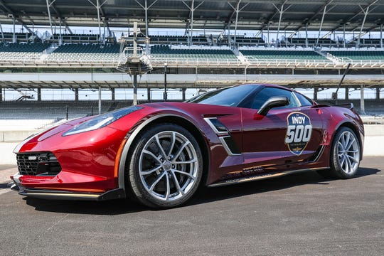 The pace car for the 103rd running of the Indy 500, a 2019 Corvette Grand Sport, Monday, April 1, 2019, at Indianapolis Motor Speedway.