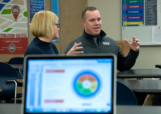 Decatur Central high school's media specialist Deana Beecher and Chase Lyday, SRO/School Safety Specialist, talk about the social emotional learning techniques they just incorporated into their curriculum at Decatur Central High School on Thursday, March 7, 2019.