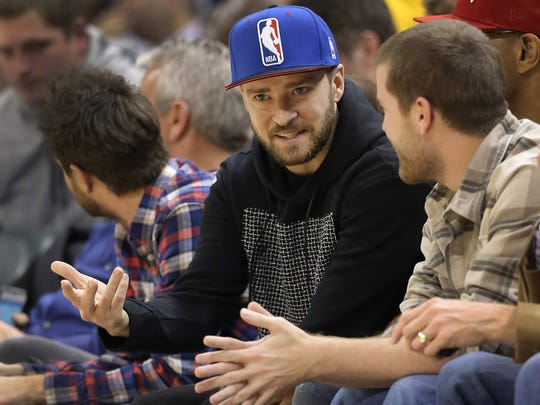 Justin Timberlake attends a Pacers-Heat game Dec. 10, 2013, at Bankers Life Fieldhouse.