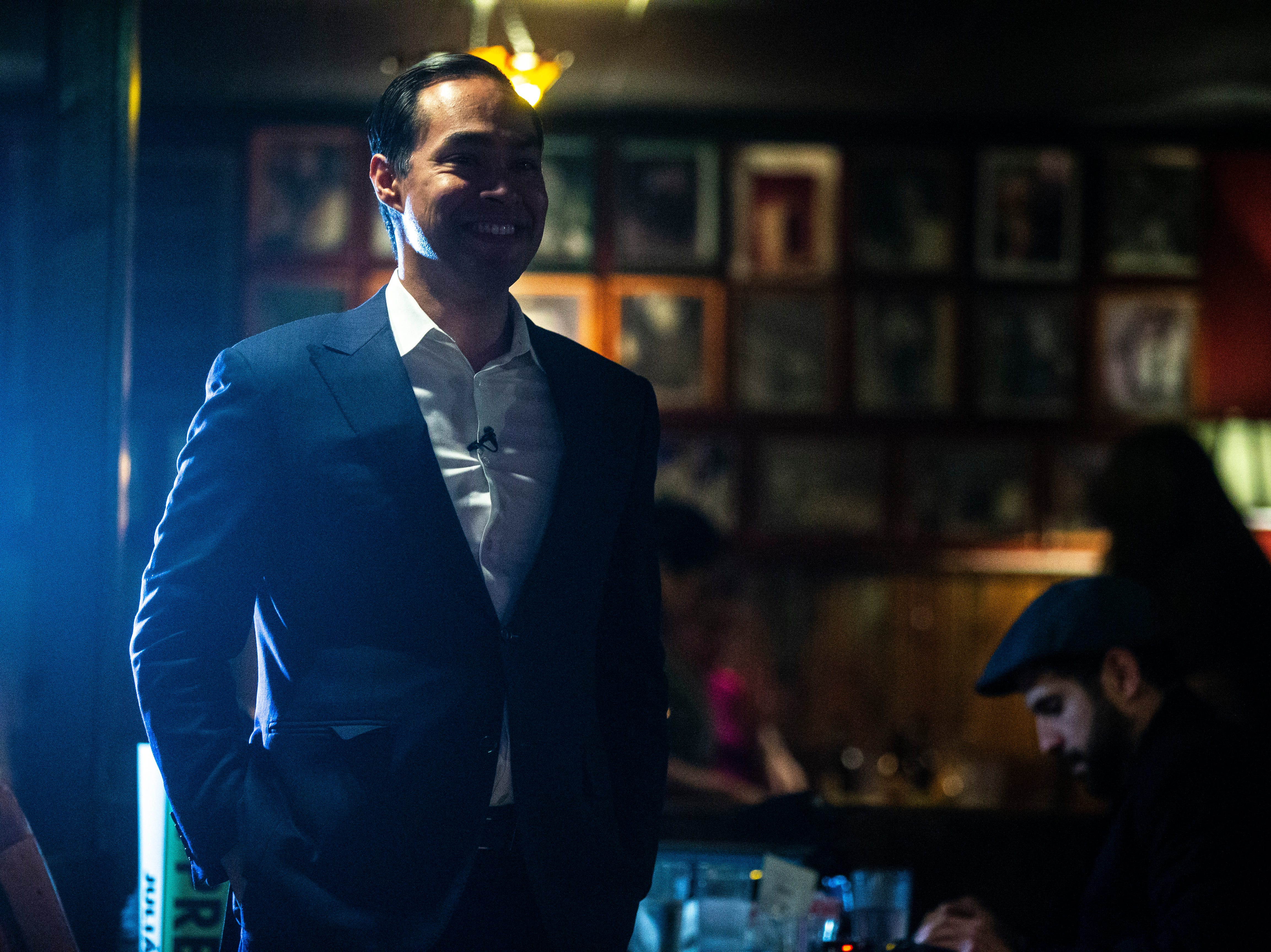Democratic presidential candidate Julián Castro smiles while he is introduced during a Lotería game night hosted by LULAC Council 308 on Sunday, March 31, 2019, at The Mill in downtown Iowa City, Iowa.