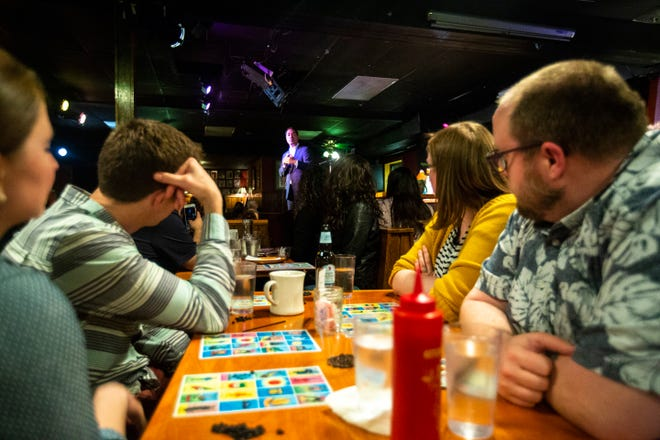Democratic presidential candidate Julián Castro speaks during a Lotería game night hosted by LULAC Council 308 on Sunday, March 31, 2019, at The Mill in downtown Iowa City, Iowa.