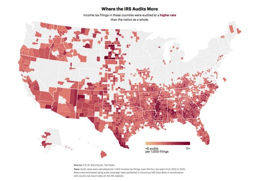 Where the IRS Audits More: Income tax filings in these counties were audited at a higher rate than the nation as a whole.