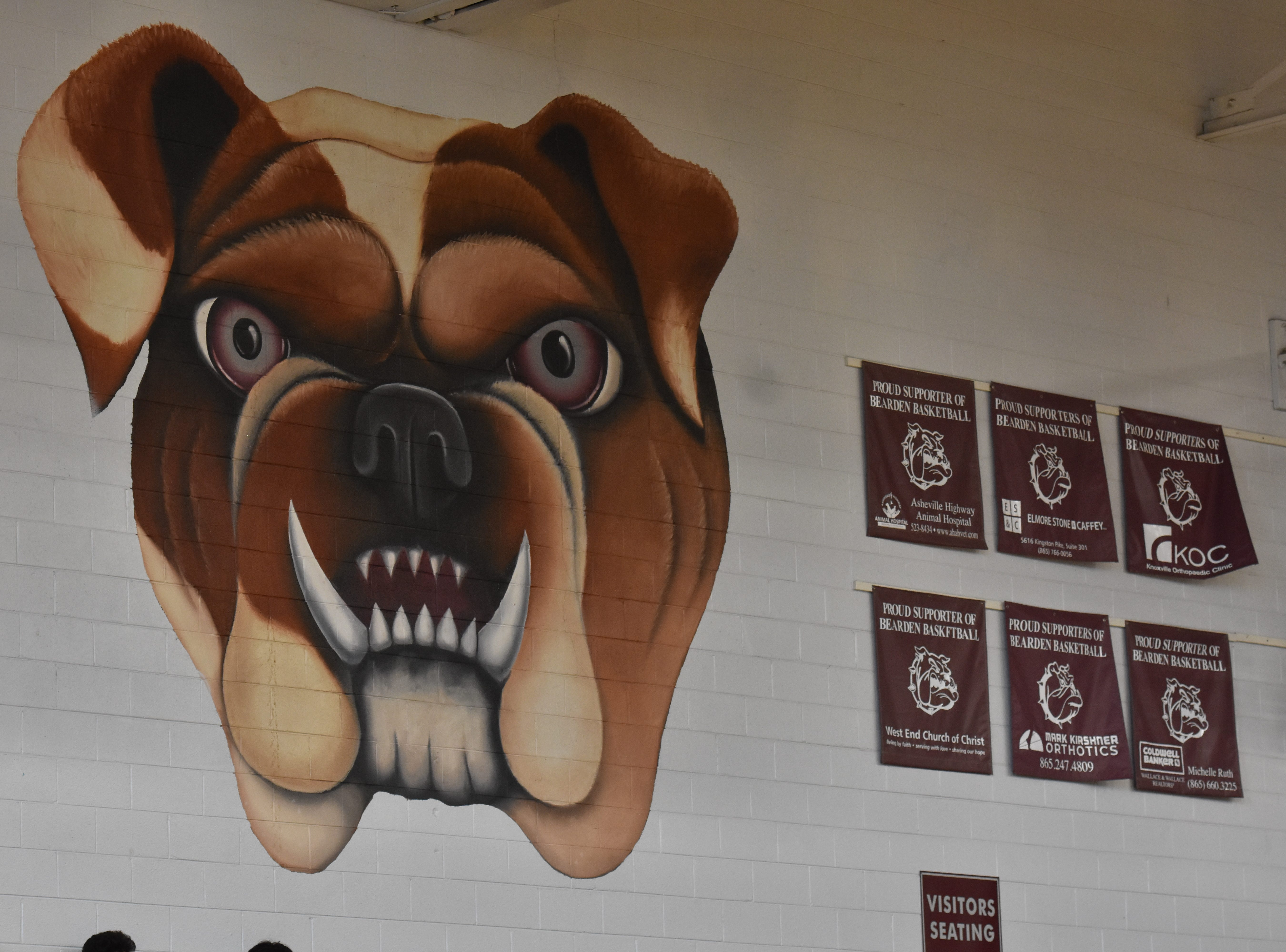 The Bearden High mascot is painted on the wall of the gym.