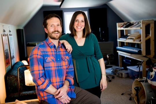 Matt and Christina in the Pitchwire home studio at their Bearden-area home in Knoxville, Tennessee on Wednesday, March 27, 2019. Pitchwire, a startup, produces custom music and sound design for all types of visual and audio projects.