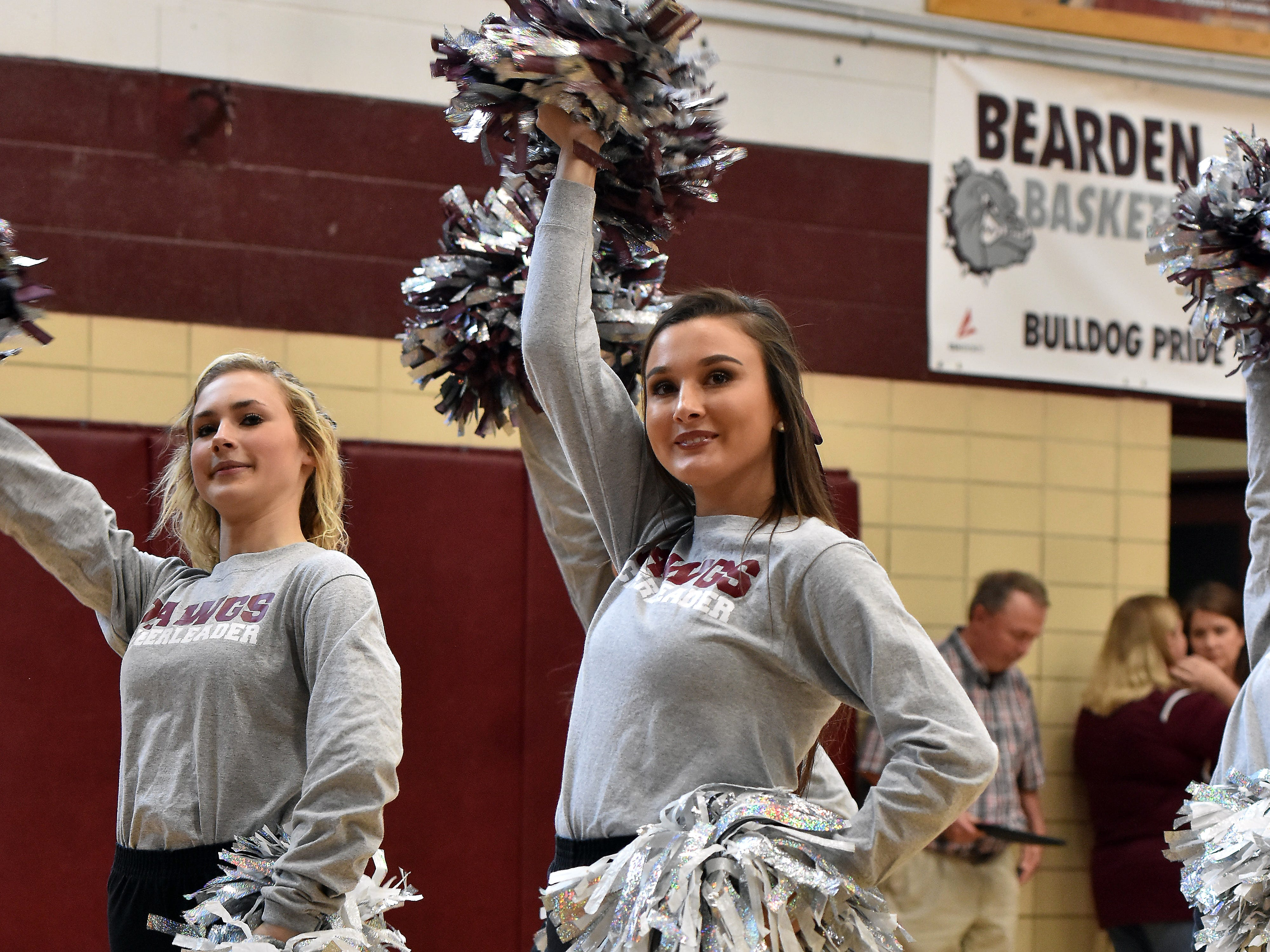The Bearden High cheerleaders performed to the school fight song during the pep rally honoring the boys basketball team winning the state championship on Friday, March 29.