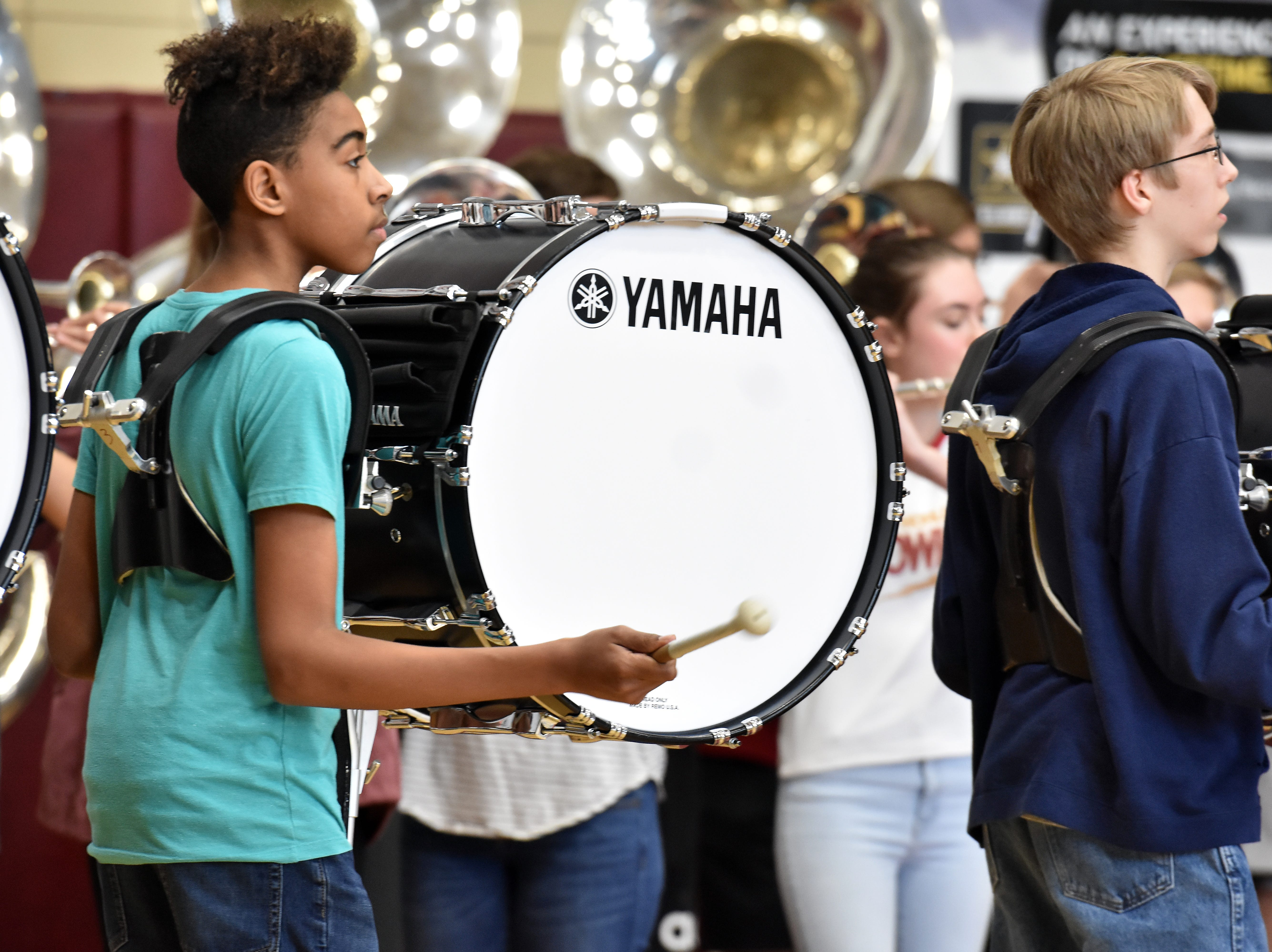 The Bearden High band pumped up the crowd during the state championship celebration for the basketball team on Friday, March 29.