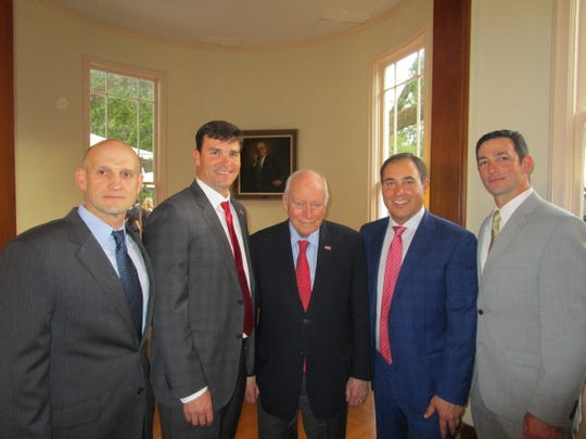 Jamie Holmes, Jake Delhomme, Dick Cheney, Scott Domingue and Daren Strother