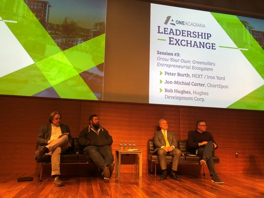Four key players in growing Greenville's entrepreneurial ecosystem speak to a delegation from Louisiana for a leadership exchange Monday.