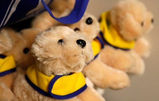 """Plush dogs resembling Ottimo """"Otto,"""" Harcum House's facility dog and companion dog for crime victims and witnesses during interviews, exams and legal proceedings. The stuffed toys of Otto are given to children."""