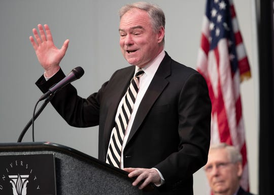 Senator Tim Kaine speaks at the University of Louisville's McConnell Center. April 1, 2019.