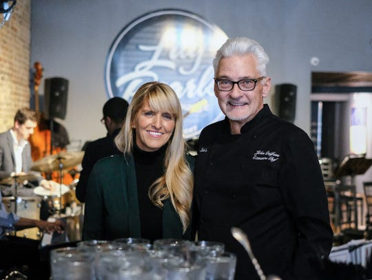 Owners of Lula's Louisiana Cookhouse and Lily Pearls Lounge in Owosso, John and Morgan Beilfuss, seen here during a special event featuring the MSU Jazz Orchestra Sunday, March 31, 2019. The restaurant and lounge has been open since 2013 and regularly feature jazz groups and musicians.