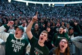 The Michigan State men's basketball team held a pep rally at Breslin Center upon its return from Washington after beating Duke.