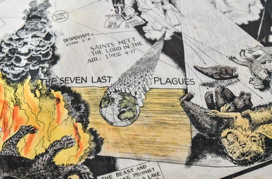 "A detail of ""The Seven Last Plagues,"" one of several prints by Seventh-day Adventist dissident Victor Houteff acquired by MSU. MSU acquired the prints from artist Jim Shaw."