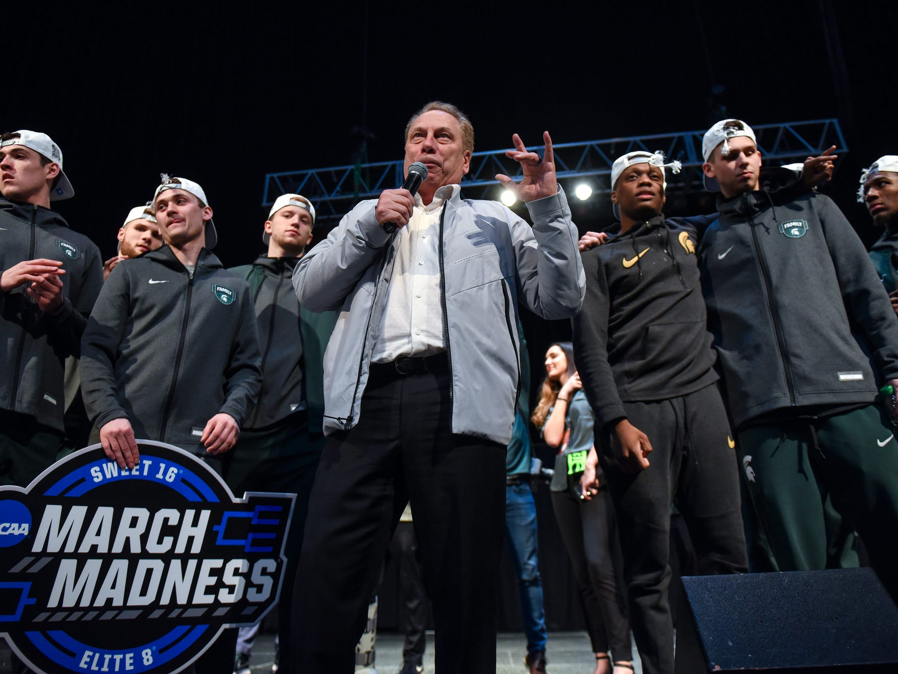 Head coach Tom Izzo addresses the crowd during a rally after MSU's victory over Duke on Sunday, March 31, 2019, at the Breslin Center in East Lansing. The Spartans beat Duke 68-67 to reach the Final Four.