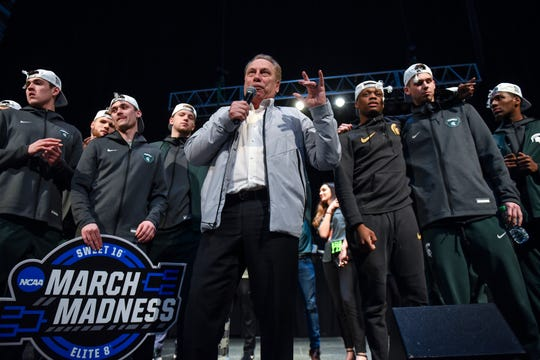 MSU coach Tom Izzo addressed the crowd early Monday morning at Breslin Center in East Lansing about six hours after his team beat Duke in Washington D.C.