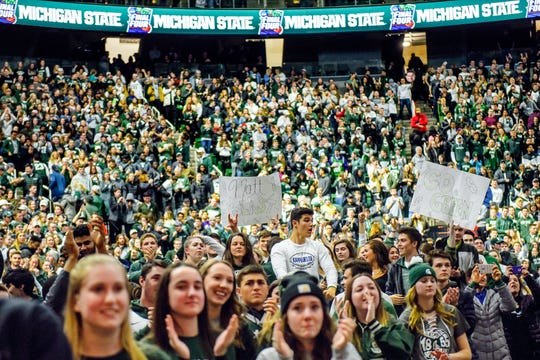 Fans show support during a rally after MSU's victory over Duke on Sunday, March 31, 2019, at the Breslin Center in East Lansing. The Spartans beat Duke 68-67 to reach the Final Four.
